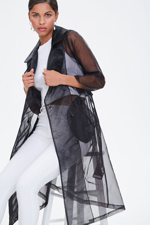 Belted Organza Trench Coat, image 1