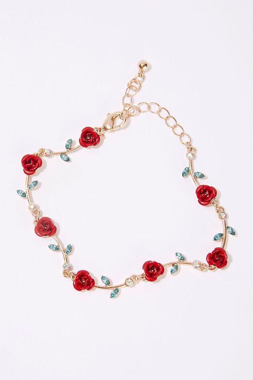 GOLD/RED Rose Charm Faux Gem Bracelet, image 1