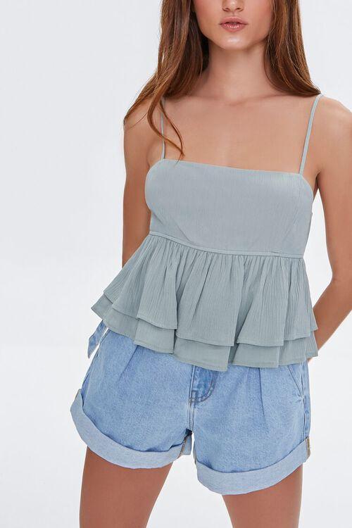 Denim Paperbag Shorts, image 1