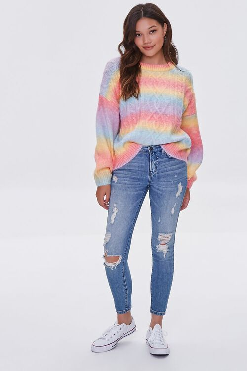 PINK/MULTI Colorblock Cable Knit Sweater, image 4