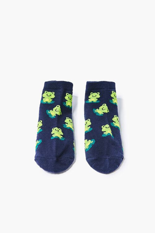 NAVY/MULTI Frog Print Ankle Socks, image 1