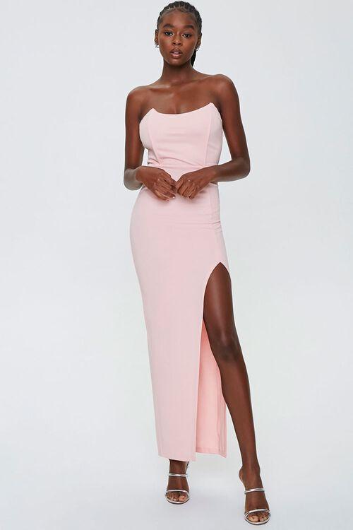 Strapless Slit Maxi Dress, image 1