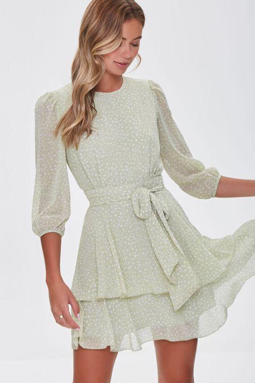 Dotted Chiffon Mini Dress, image 1