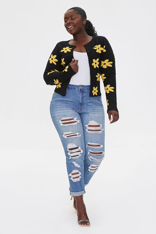 Plus Size Daisy Print Cardigan Sweater, image 4
