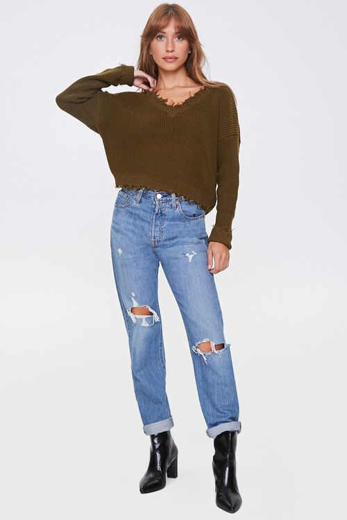 Ribbed Distressed-Trim Sweater, image 4