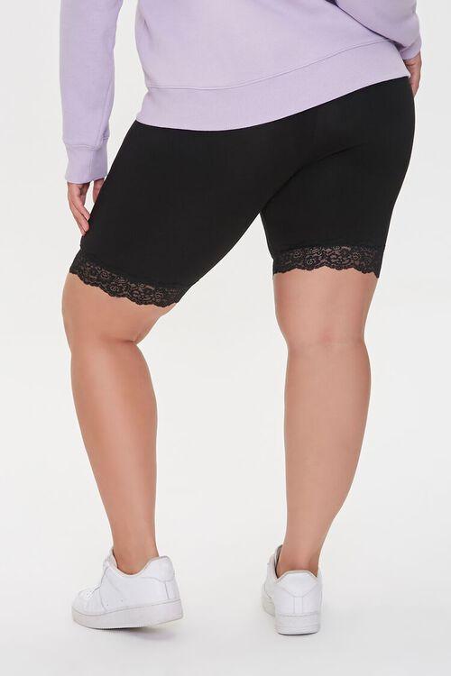 BLACK Plus Size Lace-Trim Biker Shorts, image 4