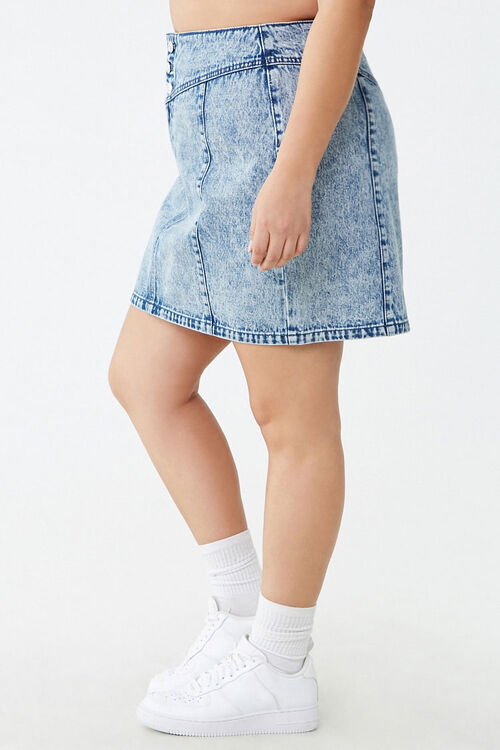 Plus Size Acid Wash Denim Skirt, image 3