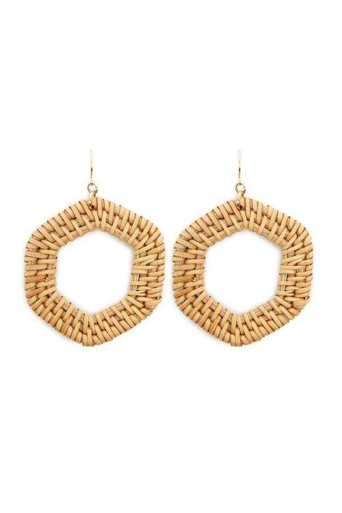 Geo Wicker Hoop Drop Earrings, image 1