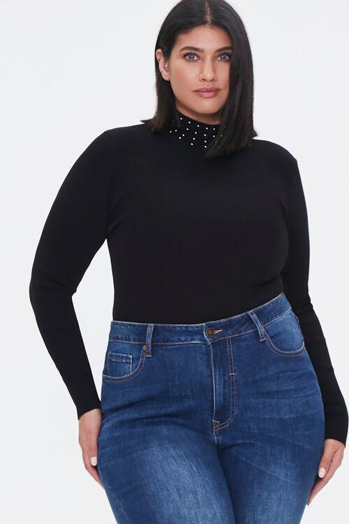 Plus Size Studded Mock Neck Sweater, image 1