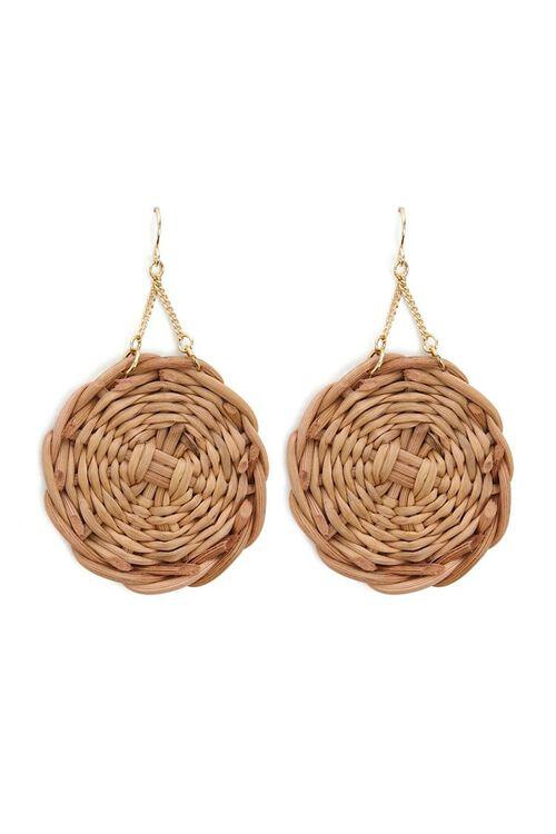 Wicker Pendant Drop Earrings, image 1
