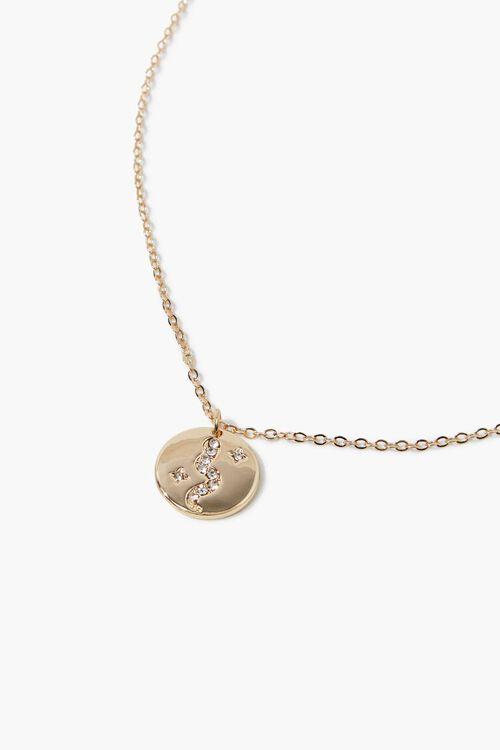 Rhinestone Disc Pendant Necklace, image 1
