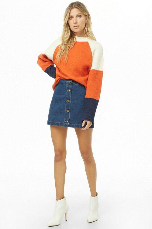 Button-Front Denim Mini Skirt, image 5