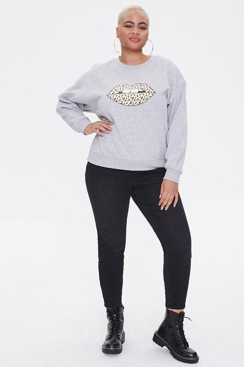 Plus Size Leopard Lips Sweatshirt, image 4