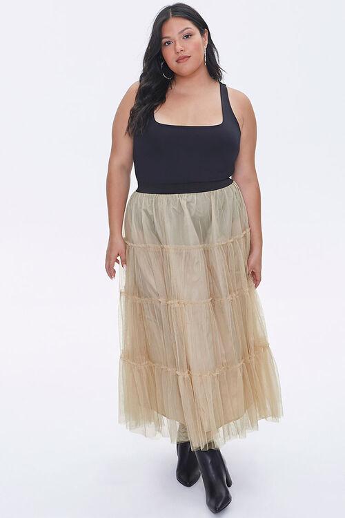 Plus Size Ruffle Mesh Maxi Skirt, image 5
