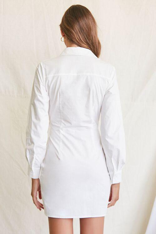 WHITE Ruched Shirt Mini Dress, image 3