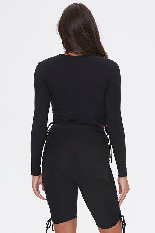 BLACK Drawstring Top & Biker Shorts Set, image 3