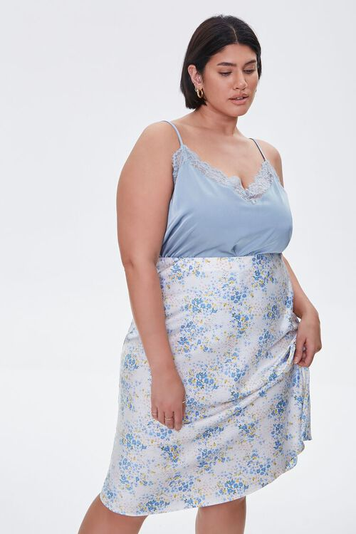 Plus Size Satin Floral Midi Skirt, image 7