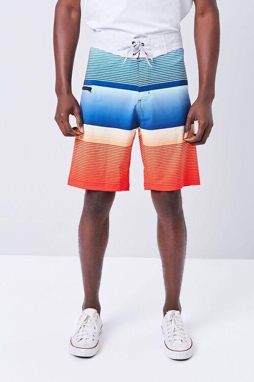 Colorblock Striped Swim Trunks, image 2