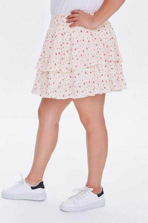 IVORY/MULTI Plus Size Ditsy Floral Skort, image 4