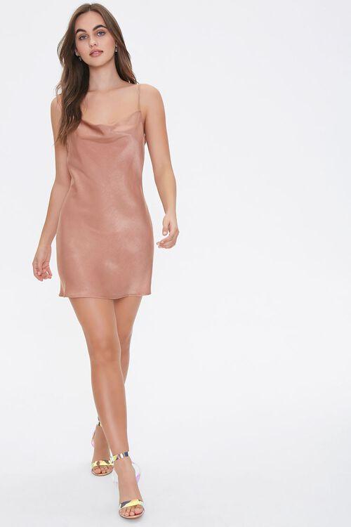 Satin Cowl Neck Slip Dress, image 4