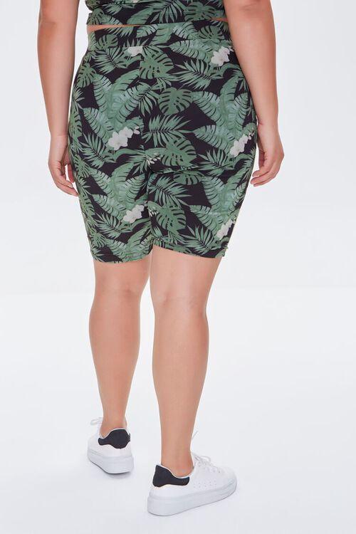 BLACK/MULTI Plus Size Tropical Leaf Biker Shorts, image 4