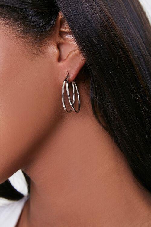 SILVER Dual Hoop Earrings, image 1