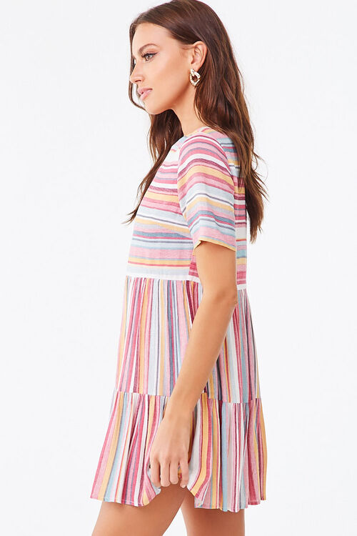 PINK/MULTI Multicolored Striped Tiered Dress, image 2
