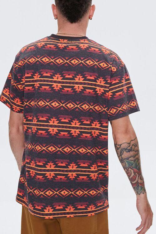 Striped Geo Print Crew Neck Tee, image 3