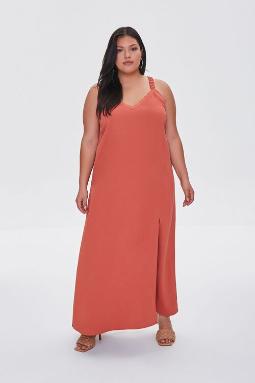 RUST Plus Size M-Slit Maxi Dress, image 4