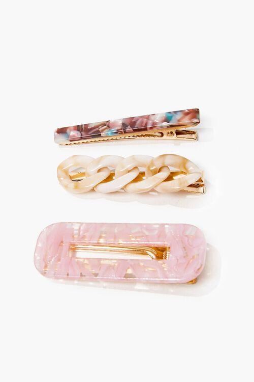 PINK/MULTI Marble Gator Clip & Scrunchie Set, image 2