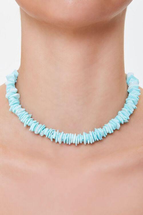 TURQUOISE Puka Shell Short Necklace, image 1