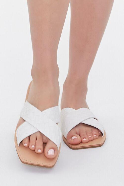 WHITE Crisscross Square-Toe Flat Sandals, image 4