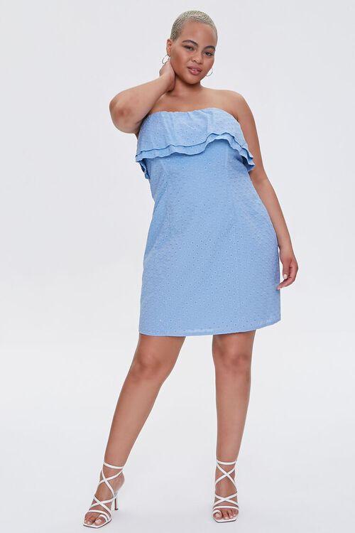Plus Size Eyelet Flounce Mini Dress, image 4