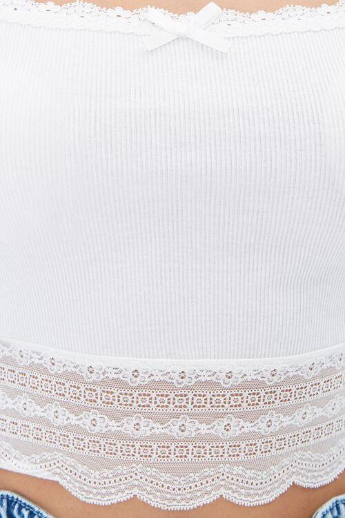 Ribbed Lace-Trim Crop Top, image 5