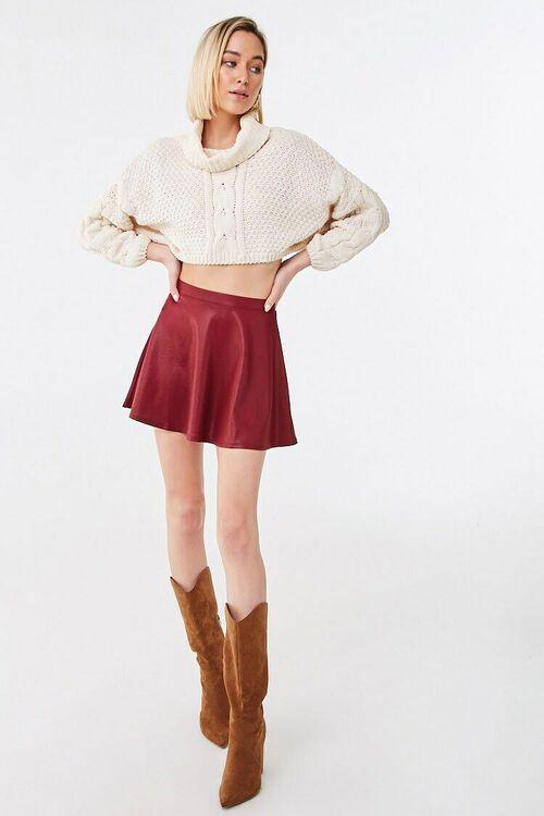 BURGUNDY Sheeny Skater Skirt, image 4