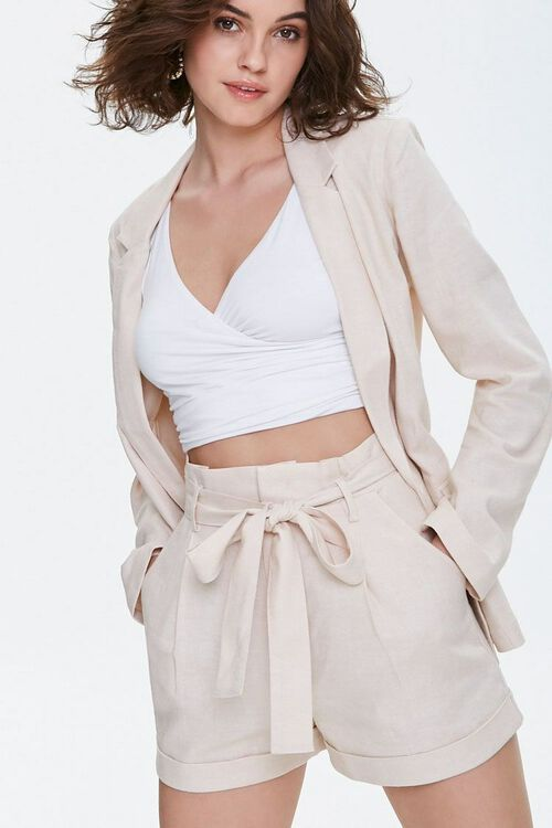 BEIGE Cuffed Belted Paperbag Shorts, image 1
