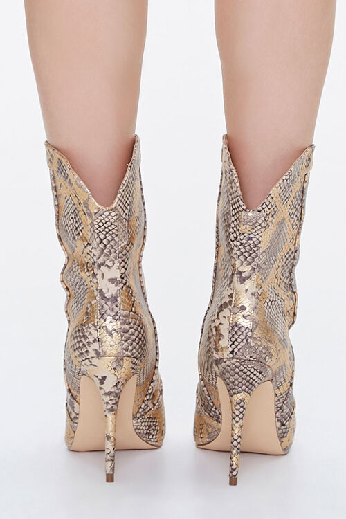Metallic Faux Snakeskin Booties, image 3