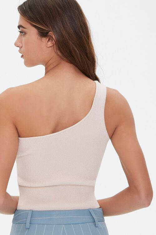 TAUPE Sweater-Knit One-Shoulder Top, image 3