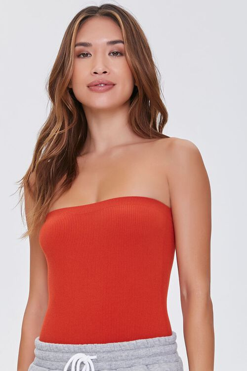 POMPEIAN RED  Seamless Ribbed Bodysuit, image 1