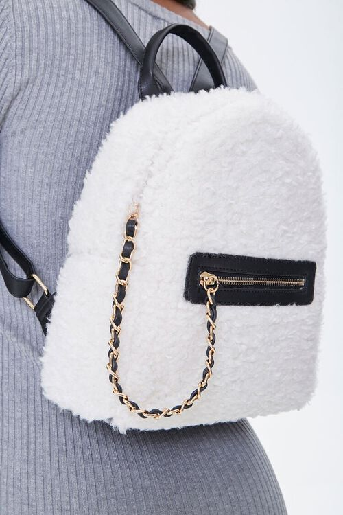 Faux Shearling Backpack, image 3