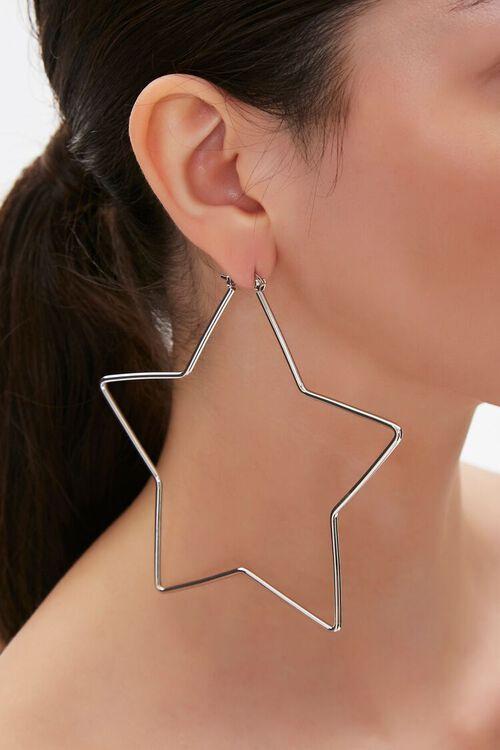 Cutout Star Pendant Hoop Earrings, image 1
