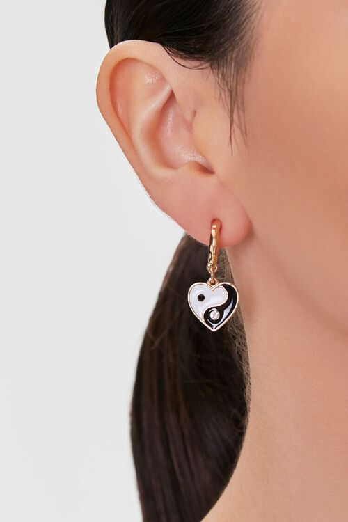 Yin-Yang Heart Pendant Hoop Earrings, image 1