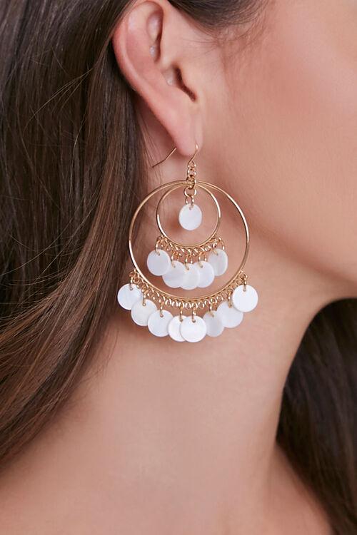 Faux Pearl Drop Hoop Earrings, image 1