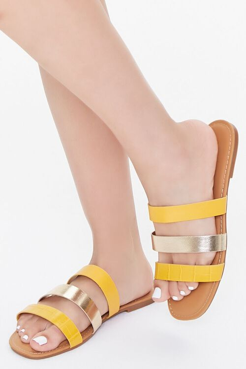 Metallic-Strap Flat Sandals, image 1