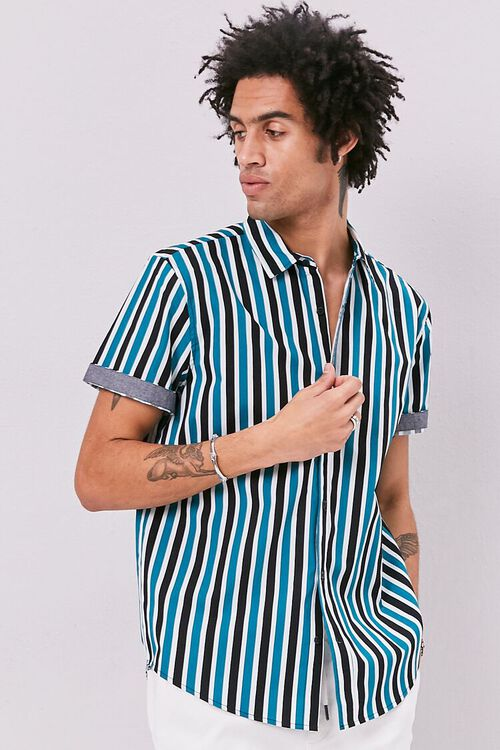 Striped Print Fitted Shirt, image 1