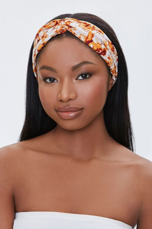MUSTARD/MULTI Ruched Abstract Print Headwrap, image 2