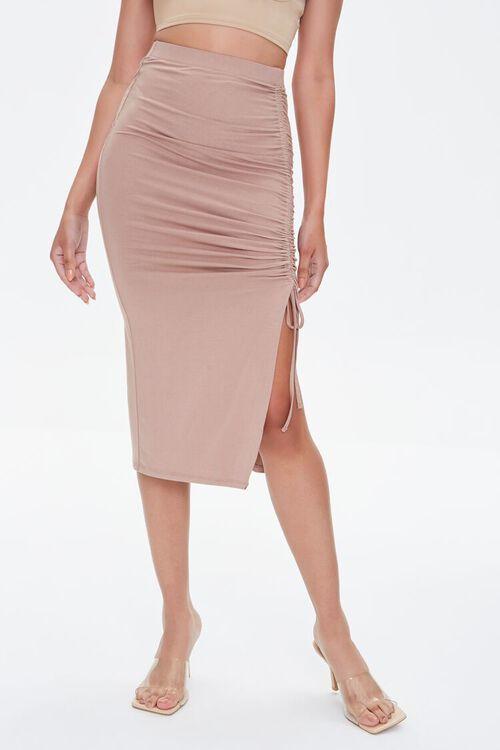 Ruched Drawstring Bodycon Midi Skirt, image 2