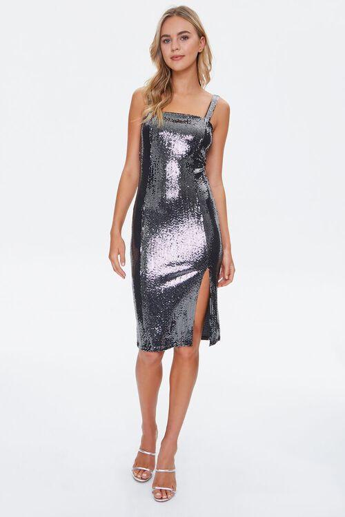 BLACK Metallic Pin Dot Knee-Length Dress, image 4