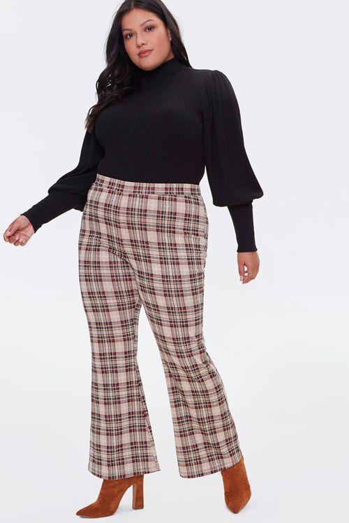 Plus Size Plaid Flare Pants, image 1