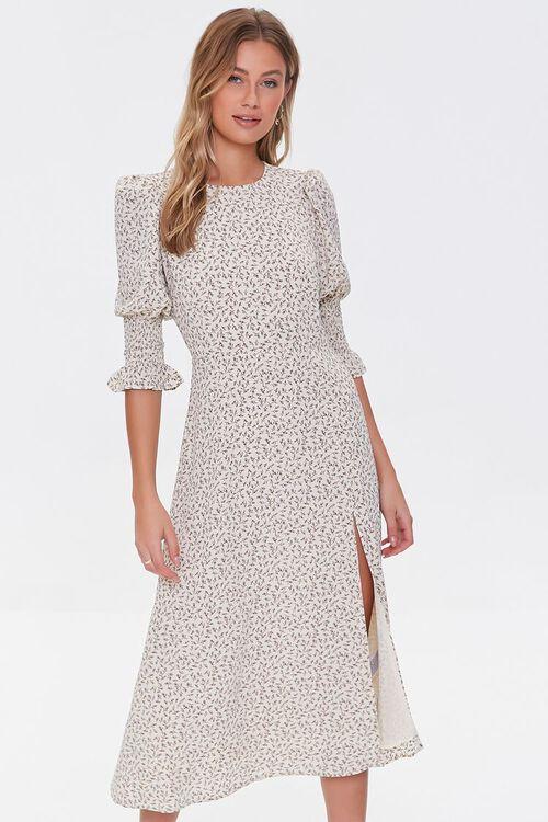 CREAM/DUSTY BLUE Recycled Leaf Print Slit Dress, image 1